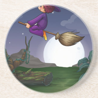 Witch flying drink coaster