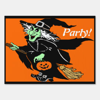 Witch Flying Halloween Cartoon Party Sign