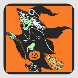 Witch Flying Halloween Cartoon Square Sticker