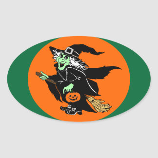 Witch Flying Halloween Cartoon Stickers