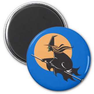 Witch Flying Halloween Magnet