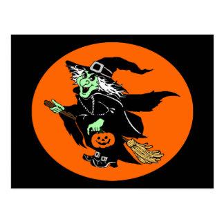 witch flying halloween oval cartoon postcard - Halloween Witch Cartoon