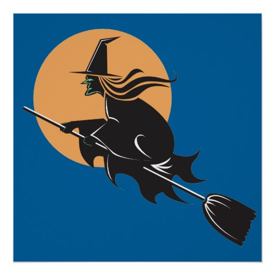 Witch Flying Halloween poster