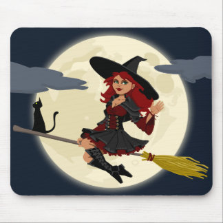 Witch Flying Mouse Pad