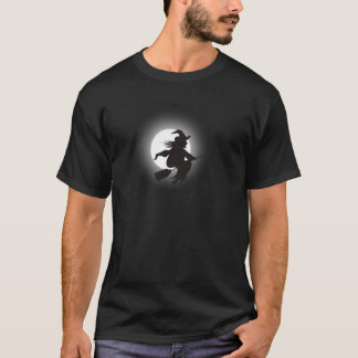 Witch flying on broom again full moon t-shirt