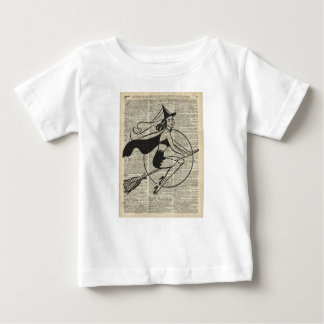 Witch Flying on Broom,Haloowen, Vintage Collage Baby T-Shirt
