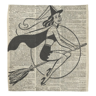 Witch Flying on Broom,Haloowen, Vintage Collage Bandana