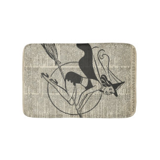 Witch Flying on Broom,Haloowen, Vintage Collage Bath Mat