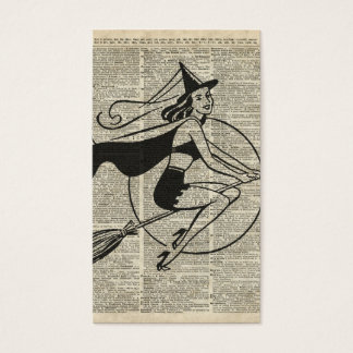 Witch Flying on Broom,Haloowen, Vintage Collage Business Card