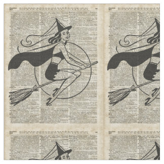 Witch Flying on Broom,Haloowen, Vintage Collage Fabric