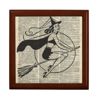 Witch Flying on Broom,Haloowen, Vintage Collage Gift Box