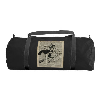 Witch Flying on Broom,Haloowen, Vintage Collage Gym Bag