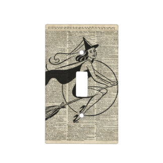 Witch Flying on Broom,Haloowen, Vintage Collage Light Switch Cover