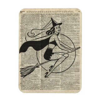 Witch Flying on Broom,Haloowen, Vintage Collage Magnet