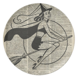 Witch Flying on Broom,Haloowen, Vintage Collage Melamine Plate