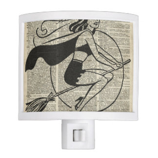 Witch Flying on Broom,Haloowen, Vintage Collage Night Light