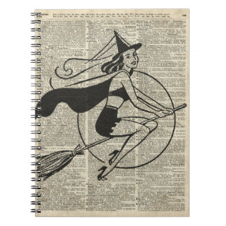 Witch Flying on Broom,Haloowen, Vintage Collage Notebook