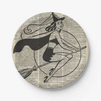 Witch Flying on Broom,Haloowen, Vintage Collage Paper Plate