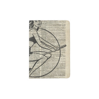 Witch Flying on Broom,Haloowen, Vintage Collage Passport Holder
