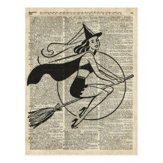 Witch Flying on Broom,Haloowen, Vintage Collage Postcard