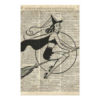 Witch Flying on Broom,Haloowen, Vintage Collage Stationery