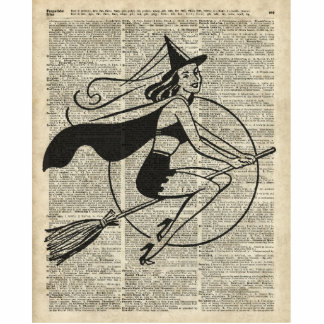 Witch Flying on Broom,Haloowen, Vintage Collage Statuette