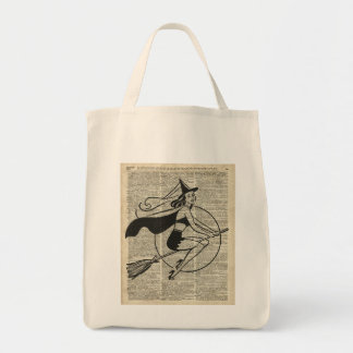 Witch Flying on Broom,Haloowen, Vintage Collage Tote Bag