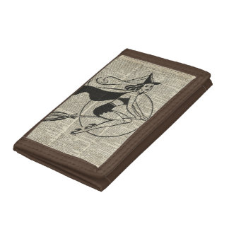 Witch Flying on Broom,Haloowen, Vintage Collage Trifold Wallets