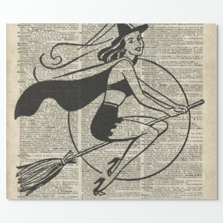 Witch Flying on Broom,Haloowen, Vintage Collage Wrapping Paper