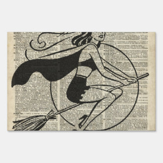 Witch Flying on Broom,Haloowen, Vintage Collage Yard Sign