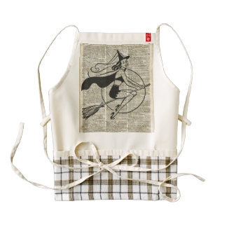 Witch Flying on Broom,Haloowen, Vintage Collage Zazzle HEART Apron