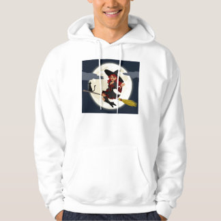 Witch Flying on Broom Hoodie