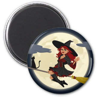 Witch Flying on Broom Magnet