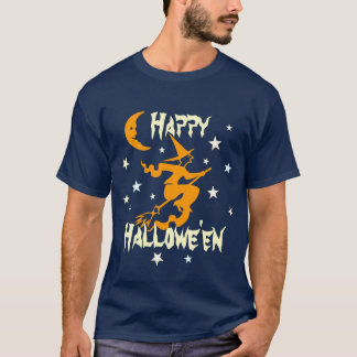 Witch Flying on Broom Moon Stars Happy Halloween T-Shirt