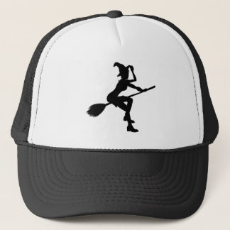 Witch Flying On Broomstick Halloween Silhouette Trucker Hat