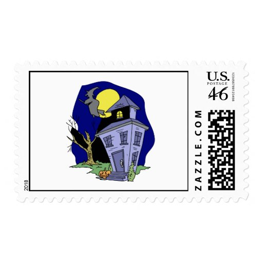 Witch Flying over house Stamps