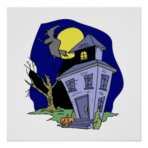 Witch Flying over house Poster