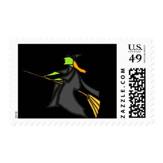 Witch Flying Postage Stamps