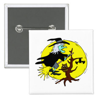 witch flying tree yellow moon halloween pinback buttons