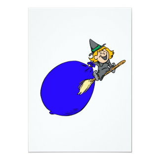 Witch flying with big bag of stuff custom invite