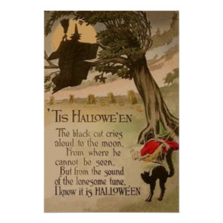 Witch Full Moon Pumpkin Black Cat Poster