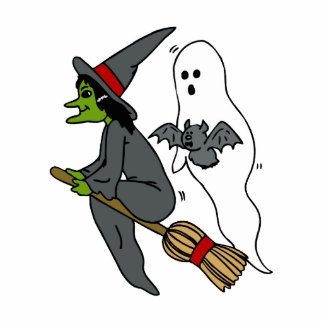Witch Ghost & Bat Photo Cut Outs