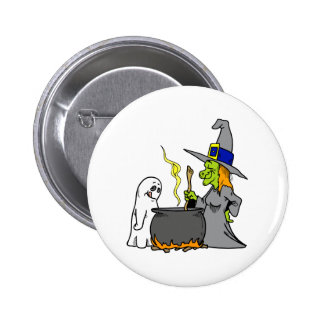 Witch Ghost making brew Pinback Button