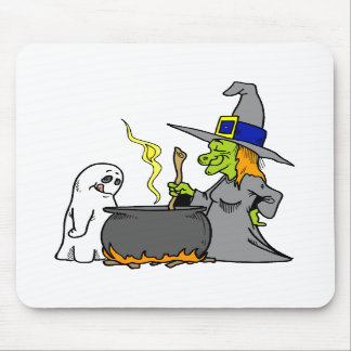 Witch Ghost making brew Mousepads