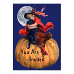 Witch Girl and Cat Halloween Invitation