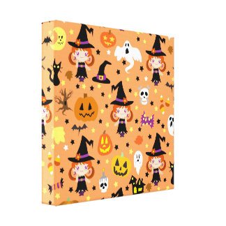 Witch Girl Halloween Pattern Stretched Canvas Print