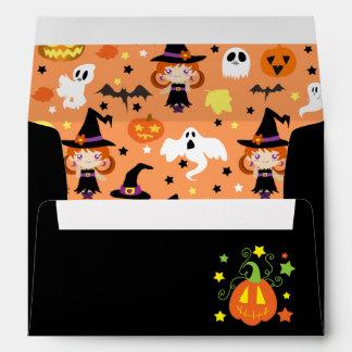 Witch Girl Halloween Pattern Envelopes