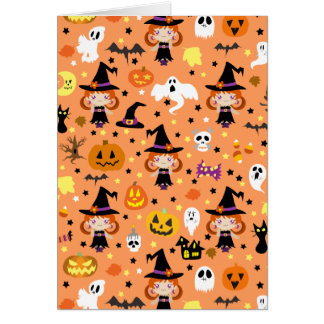 Witch Girl Halloween Pattern Greeting Card