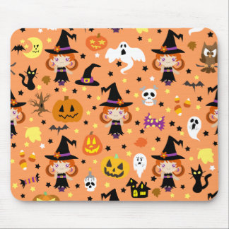 Witch Girl Halloween Pattern Mouse Pad