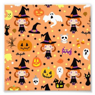 Witch Girl Halloween Pattern Photo Print